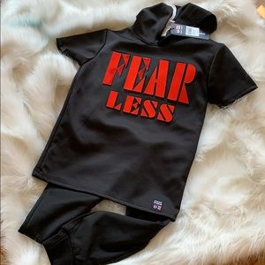 New PHAT FARM Black Hoodie Sweat Outfit FEAR LESS